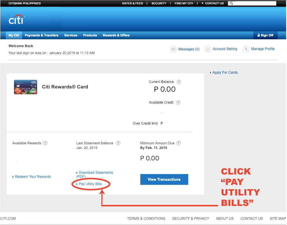 Citi Card Online Payment >> How To Pay Utility Bills Online Using Citibank Credit Card